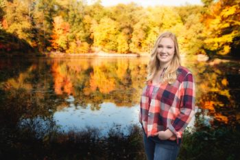 Senior Picture of Pretty Girl in Front of Lily Pond at Mill Creek Park in Youngstown Ohio | Kropp Photography