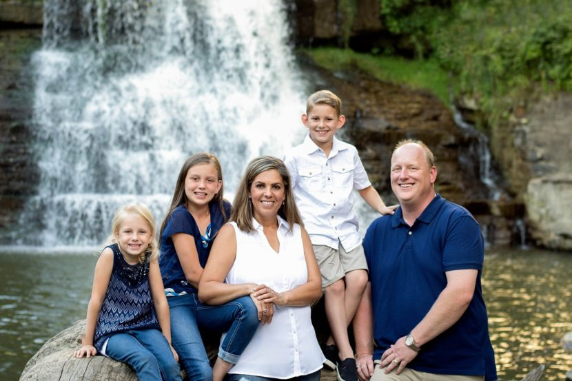 Family Picture in Front of Waterfall in Chagrin Falls Ohio | Kropp Photography