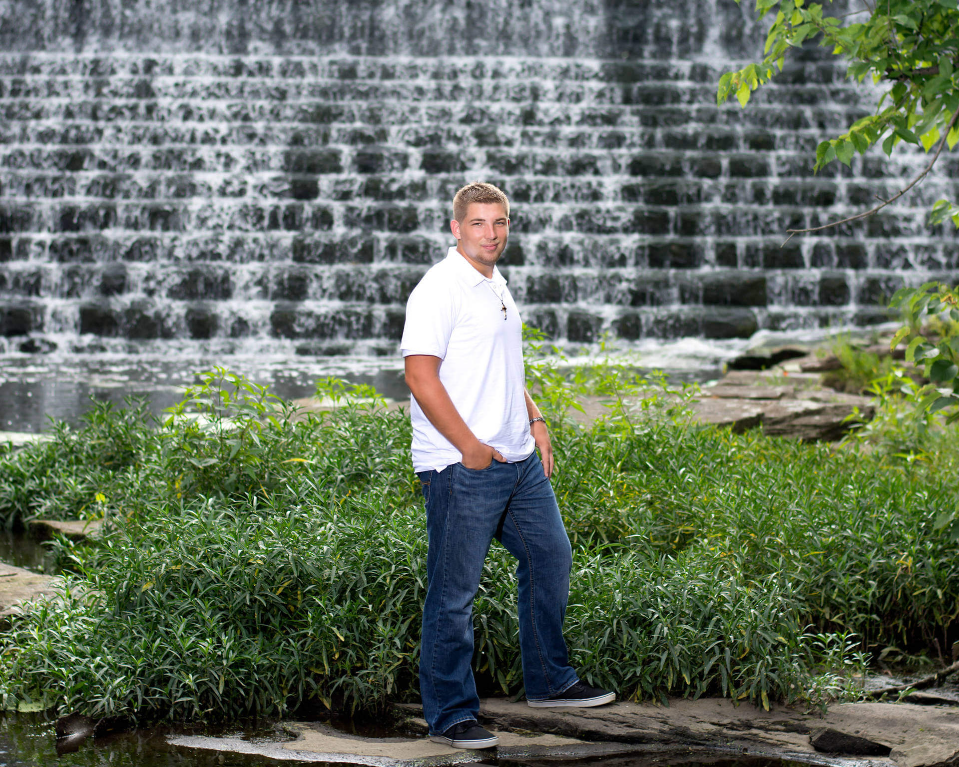 High School Senior in Front of Chagrin Falls Waterfall | Kropp Photography - Senior Pictures Portfolio