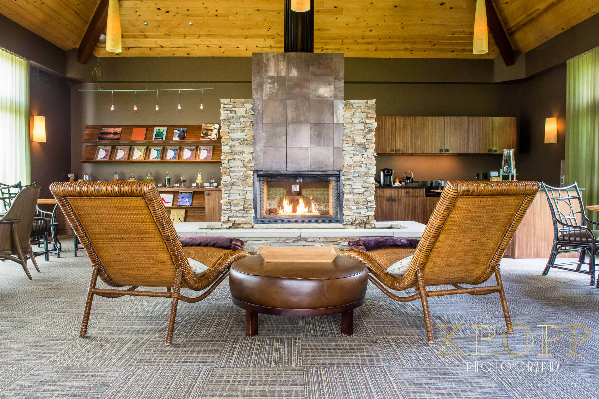 Fireplace Lounge at Spa Walden in Aurora Ohio | Kropp Photography