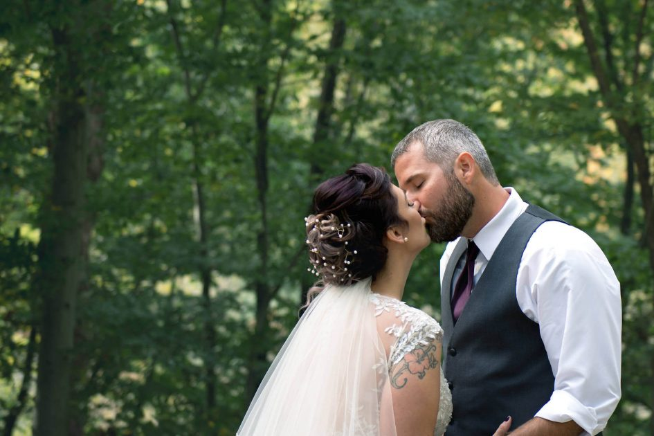 Bride and Groom Passionately Kissing at Chagrin Falls Ohio | Northeast Ohio Wedding Photographers - Kropp Photography - Wedding Photography Portfolio