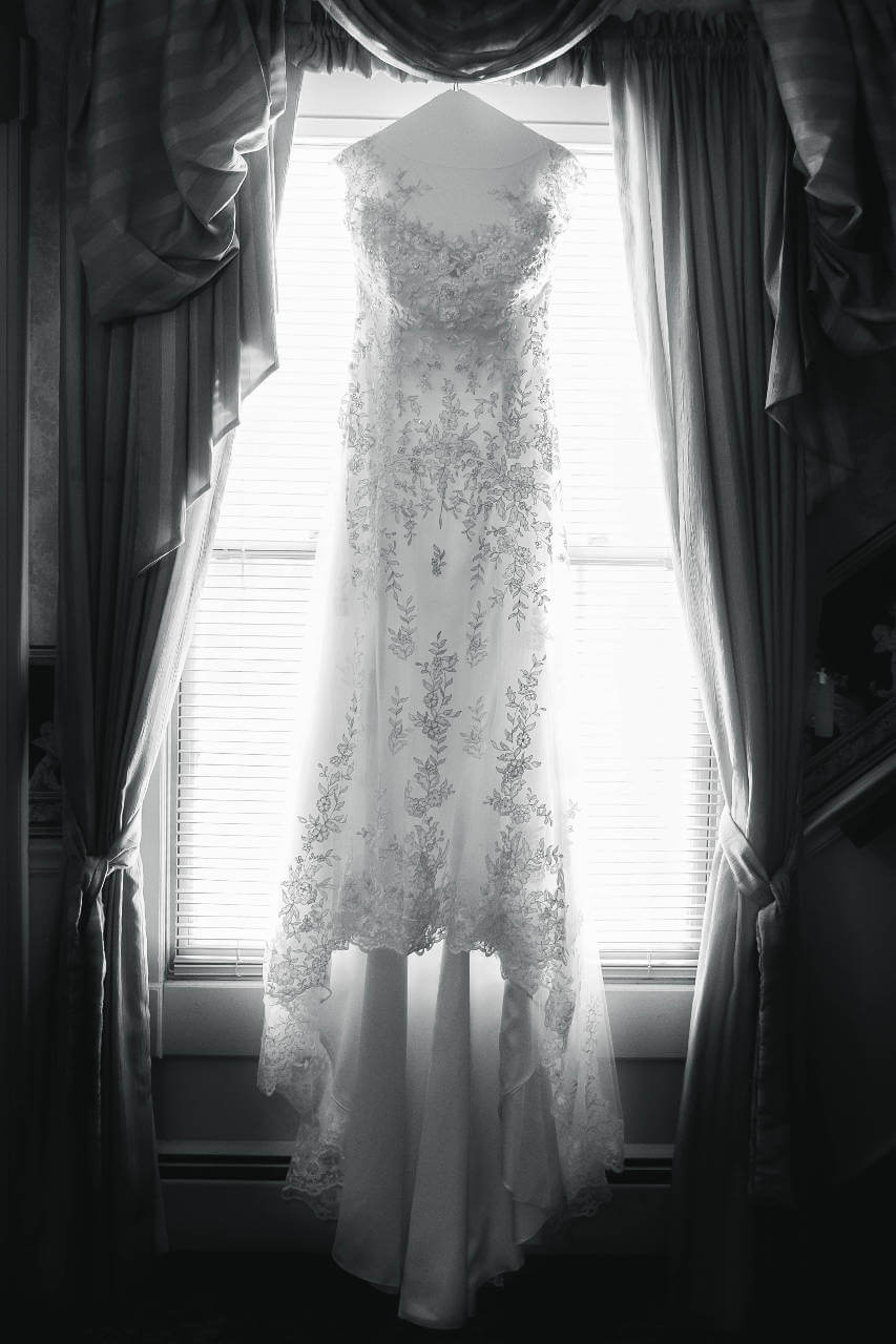 Beautiful Wedding Dress Portrait in Window in B&W   Kropp Photography - Wedding Photography Portfolio