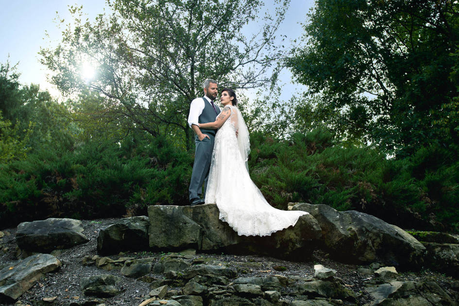 Bride and Groom Standing On Rocks in Chagrin Falls Ohio | Northeast Ohio Wedding Photographers - Kropp Photography