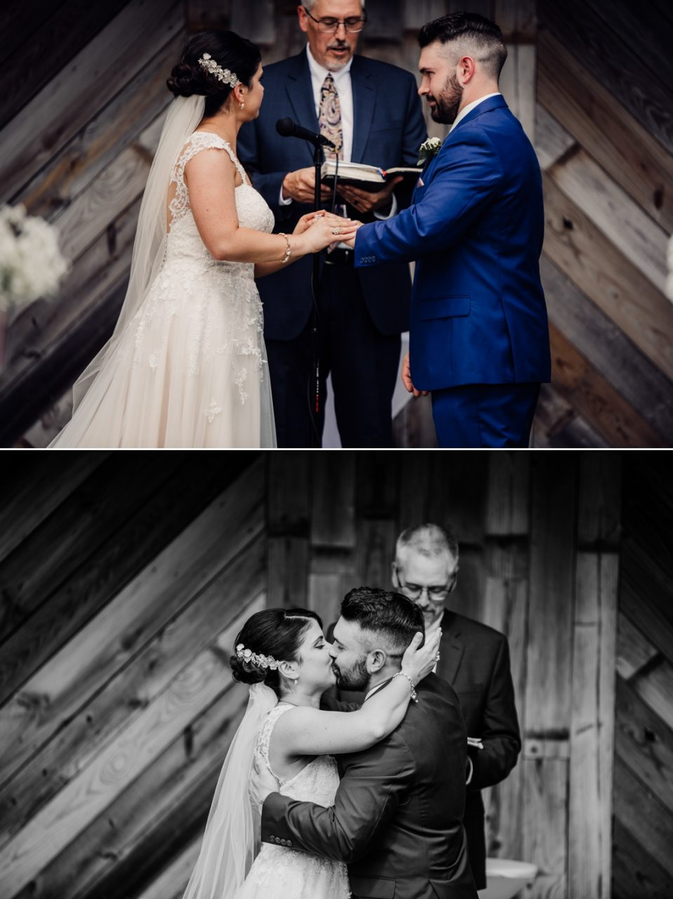 David + Maria | Wedding at The Place At 534 | Bride and Groom Exchange of Rings and First Kiss