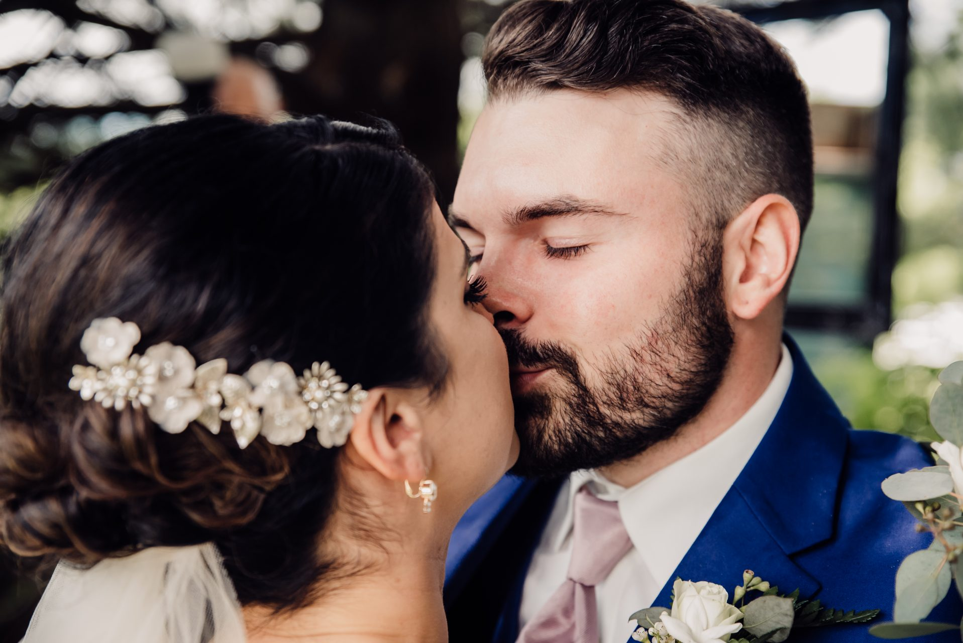 David + Maria | Wedding at The Place At 534 | Bride and Groom First Look Kiss