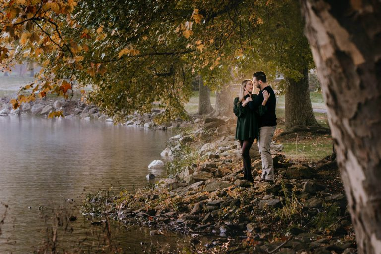 Engagement photo of young couple at Buhl Park in Hermitage Pennsylvania | by Kropp Photography | Cleveland Wedding Photographers
