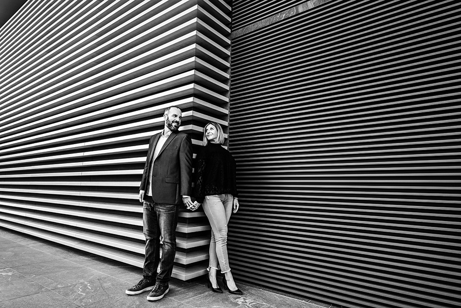 Black and White Photograph of Engaged Couple Sally and Shawn posing inside the Cleveland Museum of Art in Cleveland Ohio | by Kropp Photography | Cleveland Wedding Photographers
