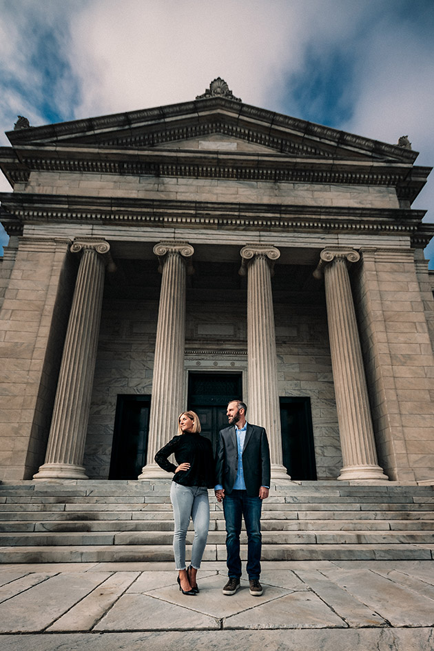 Attractive Young Engaged Couple Posing Outside of the Cleveland Museum of Art in Cleveland Ohio | Kropp Photography