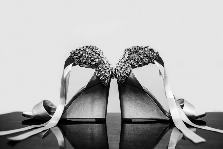 beautiful Badgley Mischka wedding shoes with ribbons | by Kropp Photography | Cleveland Wedding Photographers
