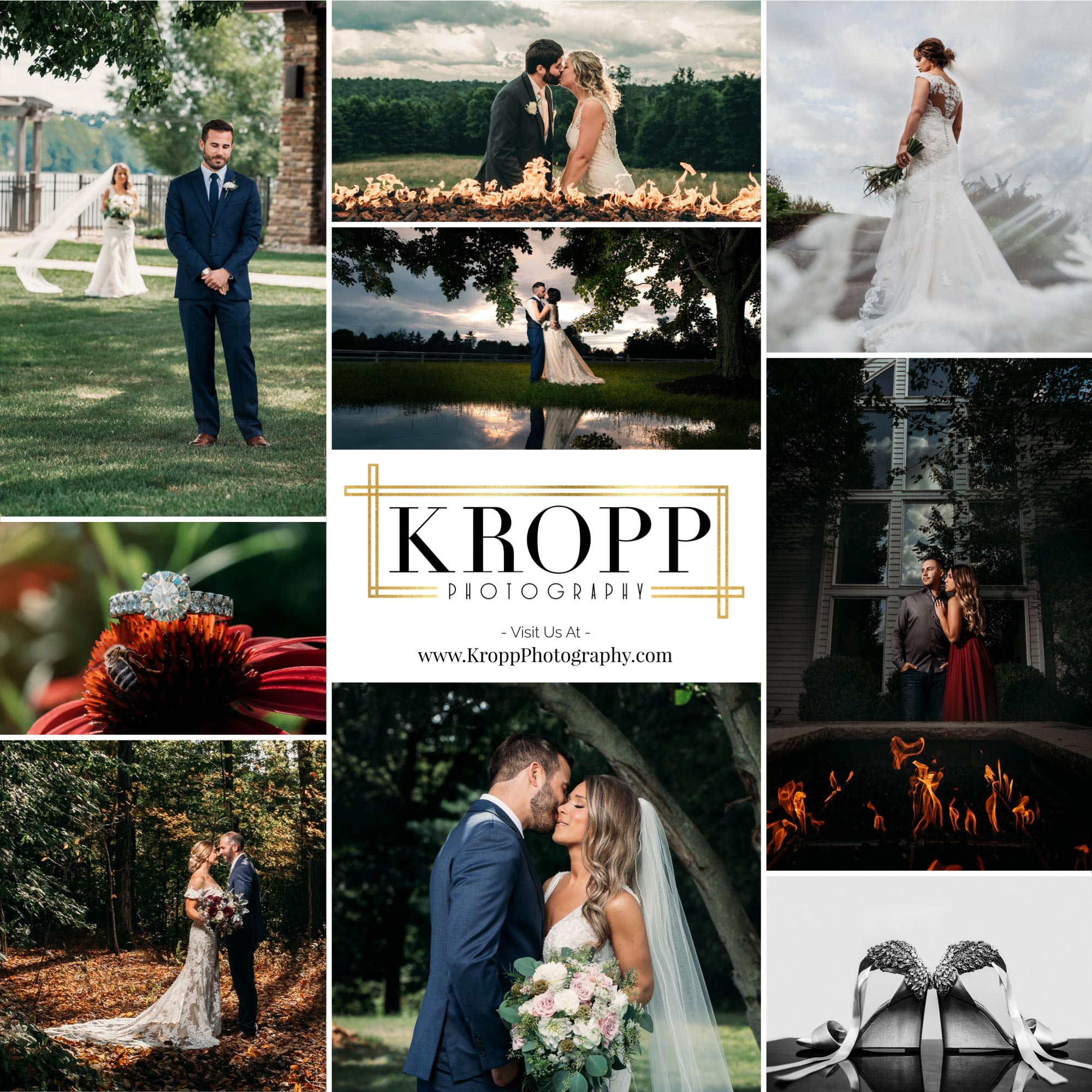 Collage of Portfolio Images from Cleveland and Youngstown Weddings by Kropp Photography with black and gold logo in the center | by Kropp Photography | Cleveland Wedding Photographers